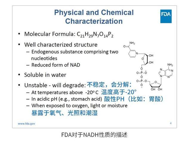 FDA对NADH的描述